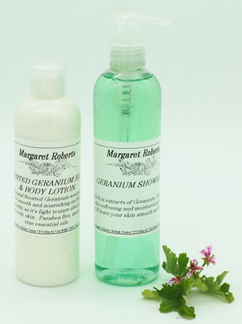 Margaret Roberts Herbal Centre - Rose Scented Geranium Shower Gel and Lotion